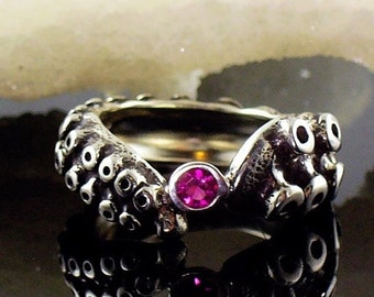 VDay SALE SALE - Tentacle Ring, Engagement Ring, Wedding Band, Sterling Ring, Silver Octopus, - OctopusME Ruby Ring