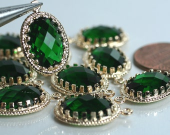 Promotion SALE 25% off Framed emerald green glass drop charm connector, earring componenet, necklace pendant, 2 pcs (item ID G53N11GP)