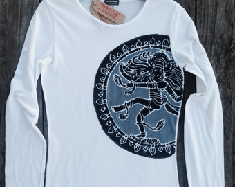 Batik Shiva white long sleeved tshirt women yoga handmade