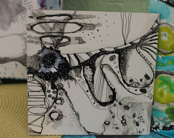 """New Series! Zen Painting  Black and white  """"Evolution""""   6x 6 by Jodi Ohl"""