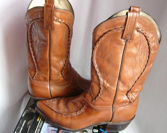 Fancy WHIPSTITCHED Leather Western Boots / Men's Size 10 wide Eur 43 Uk 9 .5 Womens 11 .5 / /DAN POST Pointed Toe Cowboy / Pecan Brown