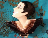 Vintage Flapper Woman Face  Lady Head Brooch Pin 1920s Fashion Style Bust Pin Up Beaded Beadwork Beautiful Make Up