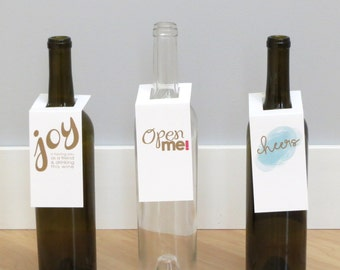 Festive Wine Tags - Gold - Wine Tags - Bottle Tags