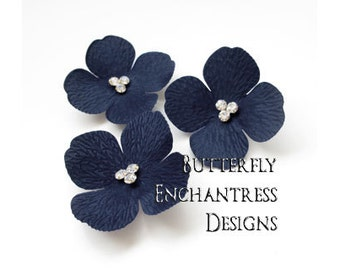 Something Blue Wedding, Rustic Nautical Beach Bridal Hair Accessories, Bridesmaid Gift - 3 Navy Blue Sedona Hydrangea Flower Hair Combs