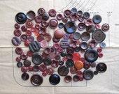 Vintage Buttons - Burgundy Mix