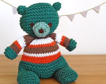 Blue Bear, Knitted Bear, Baby Shower Gift, Birthday Gift, Boy Gift, Unisex Baby Gift, First Teddy Bear, Baby Gift, Newborn Gift