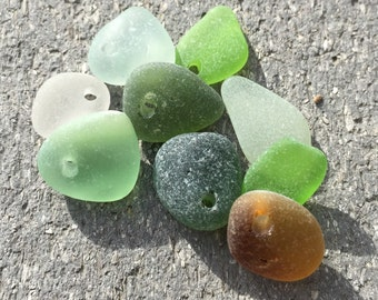 Bulk sea glass - Sea Glass - drilled sea glass - Sea glass crafts - beach glass for jewelry making - green sea glass - lime sea glass