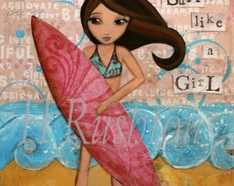 Surf Art, Surf Decor, Beach Decor,Surfer Girl, Beach Art, Print Sizes 11x14 or 16x20 by HRushton