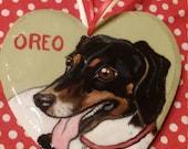 Custom Pet Portrait Ornament - Hand painted wood