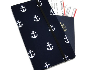 Travel Wallet, passport holder, family travel wallet, travel organizer, passport wallet, document holder - Navy Nautical Anchor
