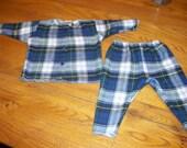 handmade layette two piece set campbell plaid newborn-6 months flannel  baby pants shirt