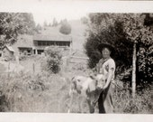 vintage photo 1924 Little Freckle Cowboy w Calf Cow by House