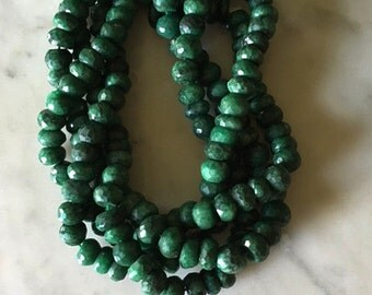 Extra Large Emerald Rondelles Genuine Gemstones