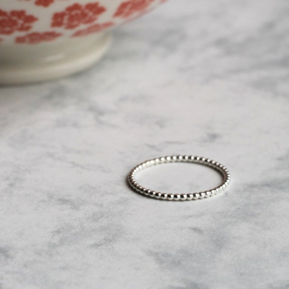 Dotted Stacking or Midi Ring - Sterling Silver