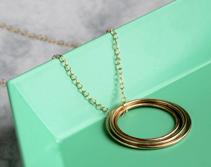 Concentric Circle Long Necklace - 14k Gold Fill Circle Necklace