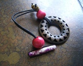 Pink Rising Wood and  Bone Hair Tie