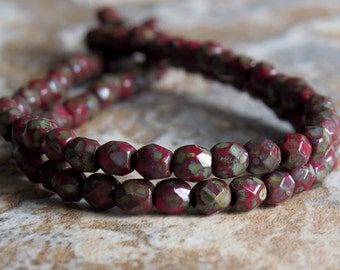 3mm Red Picasso Czech Glass Bead Faceted Round : 50 pc Full Strand Red Bead