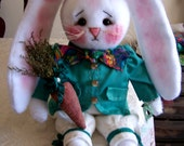 Primitive Folk Art Old Spring Easter Bunny Doll & Carrot (For Carla Only)