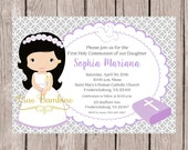 PRINTABLE Girls First Holy Communion Invitation in Lavender and Silver Gray / Print Your Own Invitations / Choose Hair Color / You Print