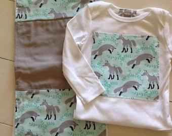modern kids onesie & patched up burp cloth. Aqua / gray Fox New Baby Gift set.