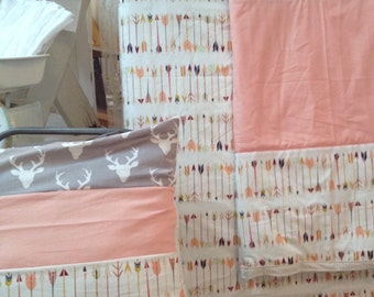 Modern Kids coral arrow Gray deer crib set. Baby, Nursery Bedding, in stock, ready to ship.