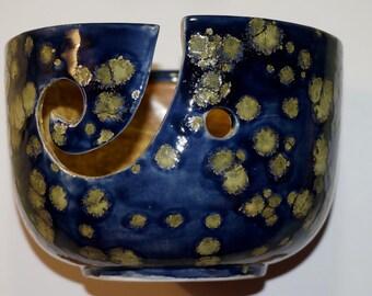 Blue spotted Ceramic yarn Bowl