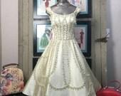 1950s Ceil Chapman dress 50s beaded dress size small Vintage ivory dress Neiman Marcus satin dress wedding gown