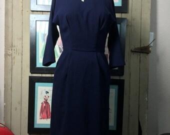 Sale 1950s wool dress 50s wiggle dress size small medium Vintage winter dress joan holloway