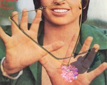 Fall sale 1960s pink necklace 60s rhinestone necklace aurora borealis Vintage costume jewelry disco ball