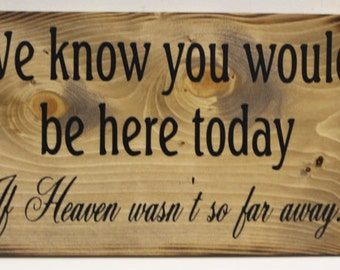 We know you would be Here Today if Heaven Wasn't so Far Away Wedding Sign Rustic Memory Remembrance Memorial Country style weddings