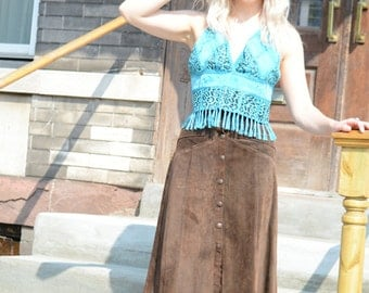 1960's Brown Suede Snap Button Skirt - Size XS