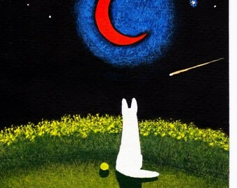 White German Shepherd Dog MOON original Folk Art painting by Todd Young