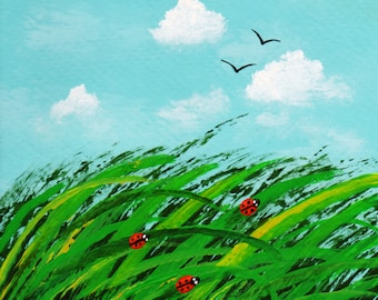 Landscape Folk art PRINT of Todd Young painting LADYBUG