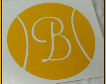 Tennis Ball with Initial Car Decal Laptop Computer Decal