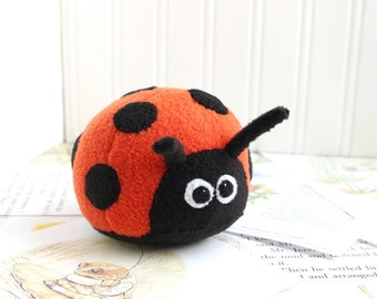 Ladybug Stuffed Animal Handmade Plush Toy Red and Black Kawaii Plush Insect Fleece Bug