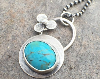 25% OFF - Sterling Silver Turquoise Flower Necklace