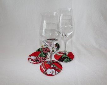 Santa Fabric Wine Coaster set of 6