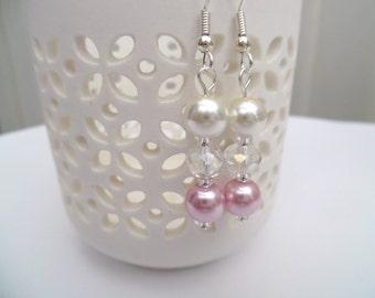 Ivory and Pink Pearl Earrings, Bridesmaid Earrings, Jewelry For Bridesmaids, Pearl Beaded Earrings, Pink Wedding Jewelry, Dangle Earrings