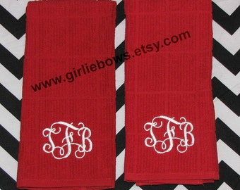 Custom Personalized Monogrammed Embroidered Kitchen Towel Bath Towel Guest Towel Set of 2 Green White Black Red Tan