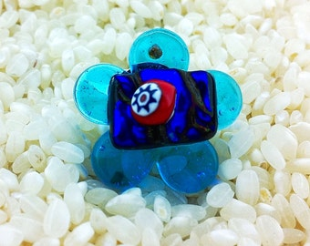 Fused Glass Flower Ring  - Adjustable Size - Choice of Gold or Silver Fittings -  Turquoise Blue Art Glass with Dichroic Detail