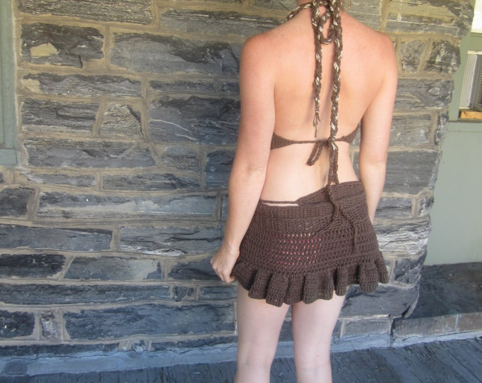 BROWN PIXIE SKIRT, Brown Pixie Elf skirt, festival clothing,Crochet, skirt, elf skirt, wrap skirt, fairy skirt,mini skirt**skirt only**