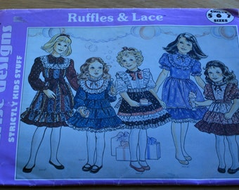 Ruffles and Lace, girl dress pattern, sewing pattern, ruffle dress, vintage pattern, 5 6 7 child Sunrise Designs, girl special event