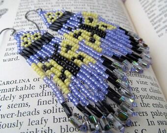 Native American Earrings, Indian Beaded Earrings, Lavender Earrings, Black, Yellow, Fringe Earrings, Dangle Earrings, Butterfly Earrings,