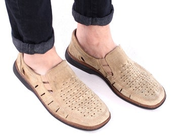 Suede Loafers For Men 80s Grandpa Shoes Summer Cut Out Flats Woven Wide Fit Comfortable Wedges Shoes Vintage Size Mens US 9, UK 8.5, Eur 43