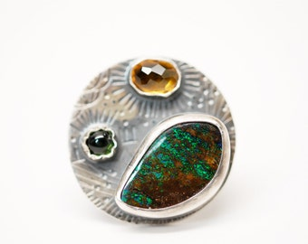 sorcerers ring - opal citrine and peridot sterling silver ring - magic ring
