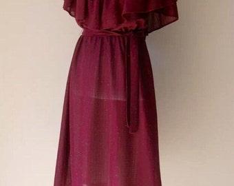Vintage Amazing burgundy 1970's disco style dress. Womens size M