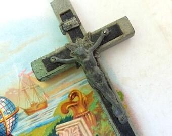 Antique Rosary Crucifix Ebony Inlay