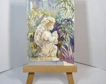 Aceo, little angel, church, old building, peinture, miniature painting, landscape id20160731 original watercolor, not a print, wallart
