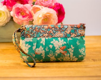 Wristlet Purse, Evening Bag, Clutch, Travel & Cruise Pouch, Phone Pouch, Cosmetic Bag, Bridesmaid Gift - Teal and Grey Floral, Orange Birds