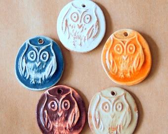 5 Handmade Ceramic Beads - Owl beads made of Stoneware